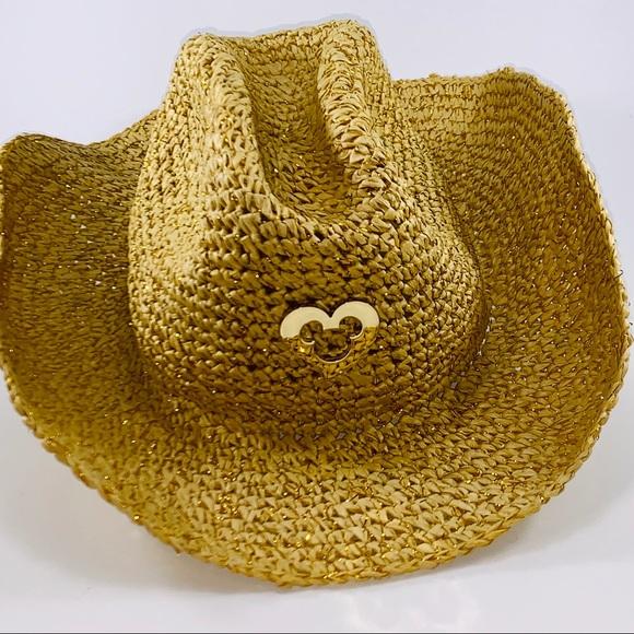 a90f455fd Disney Parks Straw Cowboy Hat Gold Heart Mickey NWT
